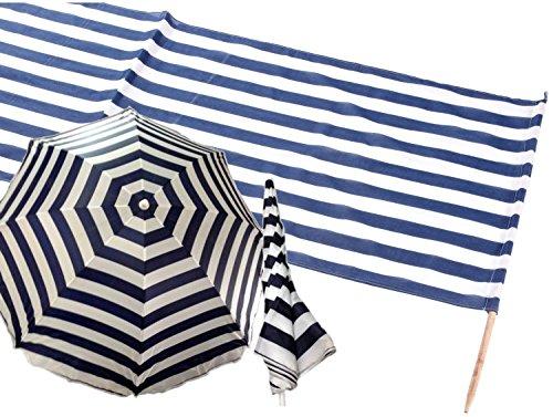 Idena Baumwollwindschutz, inkl. 7 Holzstäbe, 800 x 80 cm (8m + Sonnenschirm, Blau | Weiß)