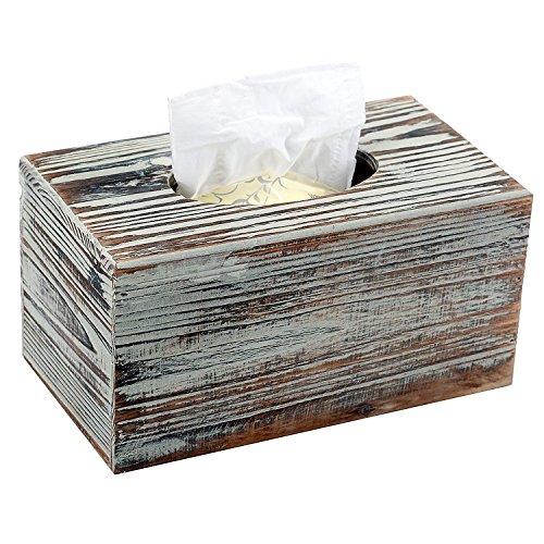 MyGift Rustikal Torched Halterung Holz Rechteckige kosmetiktuchboxen - Badezimmer-eitelkeit-holz-eitelkeit