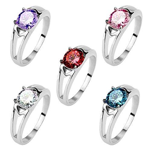 Mianova Damen Ring Verlobungsring Edelstahl poliert mit Zirkonia in Diamant Form