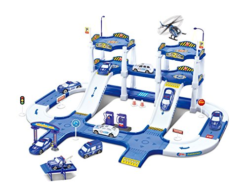 Fun Toys 10741 Police City Garage with Cars, Roads, Helicopters, Gas Station, Parking, Racing Set, Bridges, Idea and Creativity, Helipad, Build it Yourself (Racing Car Toy)