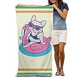 Motiv: Frenchie vergnügt Sommer auf Flamingo Pool Schwimmen Pool in Erwachsene Schwimmen Handtücher 203,2x 330,2cm