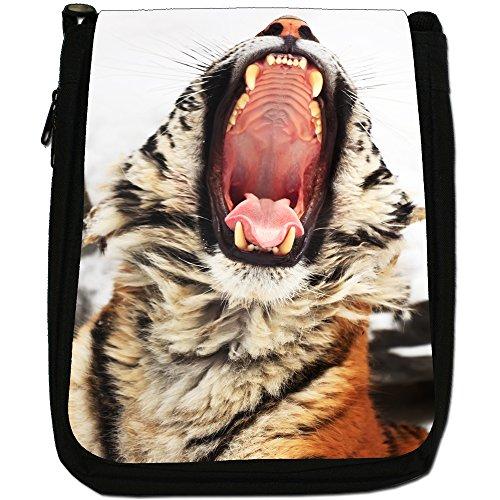 Wild tigre Medium Nero Borsa In Tela, taglia M Yawning Tiger Portrait