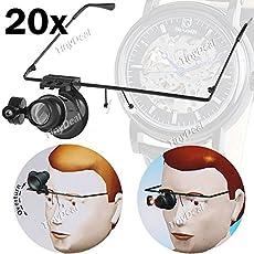 Iktu TDL17134 20X Glasses Type Magnifying Lens Eye Gauge with LED Light for Handicraft Watch Repair (Black)