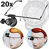20X Glasses Type Magnifier Magnifying Lens Eye Gauge with LED Light for Handicraft Watch Repair - Black HMM-71800