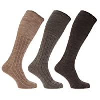 Mens Long Length Ribbed Lambswool Blend Socks (Pack Of 3) (UK 6-11 EURO 39-45) (Brown Assorted)