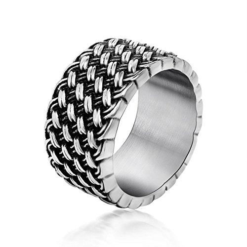 Beydodo anello in acciaio nero anello netto di amore vintage 11mm anelli argento nero misura 20