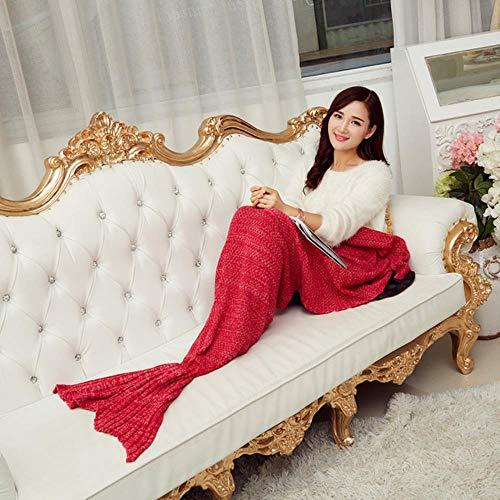 Kai&Guo Little Tail Decken Frühling Bettwäsche Sofa Meerjungfrau Decke Wolle Stricken Fisch Stil Warm Sleeping Kind Prinzessin liebt Geschenk b3, Fotofarbe, 195x95 cm - Stricken-krankenhaus-bett