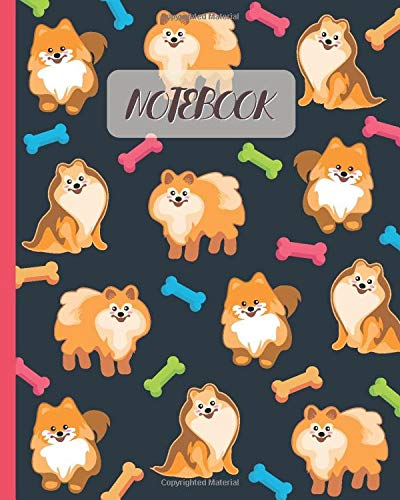Notebook: Cute Pomeranians Cartoon Cover - Lined Notebook, Diary, Track, Log & Journal - Gift Idea for Boys Girls Teens Men Women (8