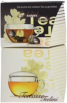 Creano_Teelini fleurit , thé noir, coffret cadeau 8 Teelini fleuris aromatisés finement, 1 tasse en verre Teelini 200ml avec couvercle, le premier thé fleurit en format tasse_''thé noir'',