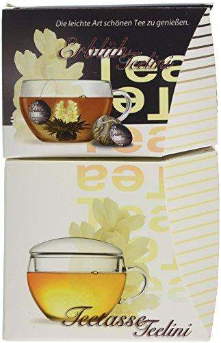 Creano Erblüh-Teelini schwarztee Geschenk-Set 'schwarzer Tee' 8 ErblühTeelini fein aromatisiert, 1 Teelini Glas-Teetasse 200 ml mit Deckel, der erste ErblühTee in Tassenformat