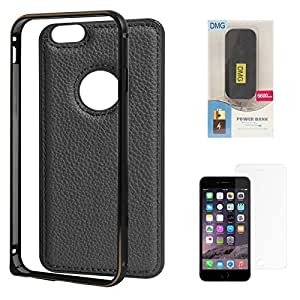 DMG Metal Frame and Leather Back Bumper Dual Protection Cover Case For Apple iPhone 6 4.7in (Black) + 6600 mAh PowerBank + Matte Screen