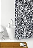 DUSCHVORHANG Zebra weiß schwarz Zebrastreifen Textil 240cm breit x 200cm lang inkl. Ringe shower curtain