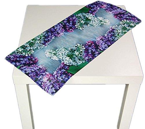 pflegeleichte Tischdecke 30x70 cm eckig Flieder Frühling Sommer Läufer Fotodruck Polyester...