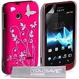 Yousave Accessories Schutzhülle aus Silikongel für Sony Xperia Tipo, Blumen und Schmetterling)