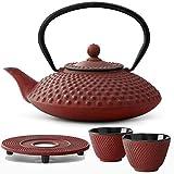 Bredemeijer Teekanne asiatisch Gusseisen Set rot 1,25 Liter mit Tee-Filter-Sieb mit Stövchen und Teebecher (2 Tassen) rot - Serie Xilin