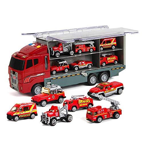 KOBWA Transport-Träger-LKW-Spielzeug, Auto-Transporter mit 6 Bunten Mini-Metall-Autos für Jungen und Mädchen