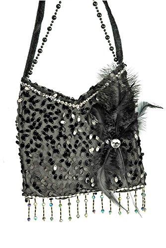 Charleston Täschchen Handtasche Schwarz - Tolles Accessoire zu Kostümen der 20er 30er Jahre oder Mottoparty
