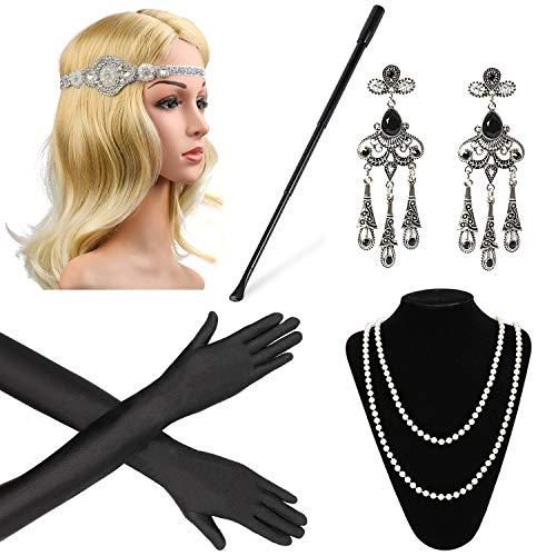 (Beelittle 1920er Jahre Zubehör Set für Frauen Flapper Stirnband Perlenkette Handschuhe Zigarettenspitze für große Gatsby Party (M17))