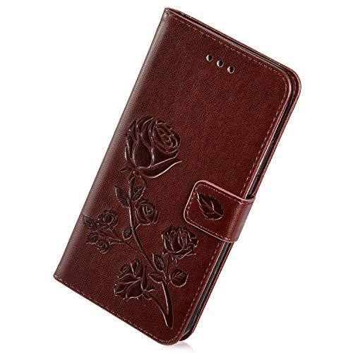 Herbests Kompatibel mit Samsung Galaxy A5 2016 Handy Hülle Handytaschen Rose Blumen Muster Retro Lederhülle Brieftasche Klapphülle Leder Tasche Handy Schutzhülle Flip Case Cover Etui,Braun