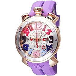 GaGa Milano Damen-Armbanduhr 48mm Armband Kautschuk Gehäuse Gold beschichtetes Edelstahl Batterie 6056.9