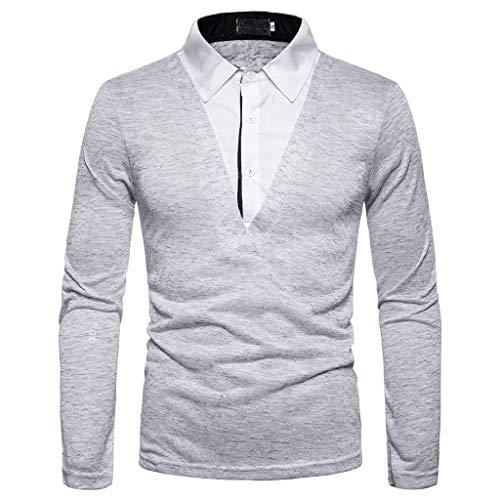 Dwevkeful Herren Polo-Shirt Revers GefäLschte Zwei LangäRmelige Polo-Tops Langarm Herbst Und Winter Mode Regular Fit Elegantes (Mesh-polo-shirt Besticktes)