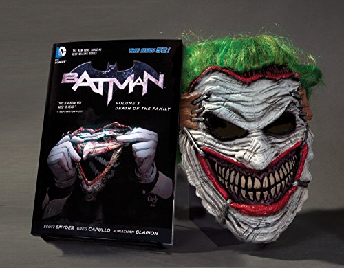 The seminal trade paperback graphic novel, BATMAN: DEATH OF THE FAMILY, is now paired with a rubber replica mask of facial flesh worn by the Joker, a must-have for any true fan of Scott Snyder's groundbreaking work. This is the third in DC's series o...
