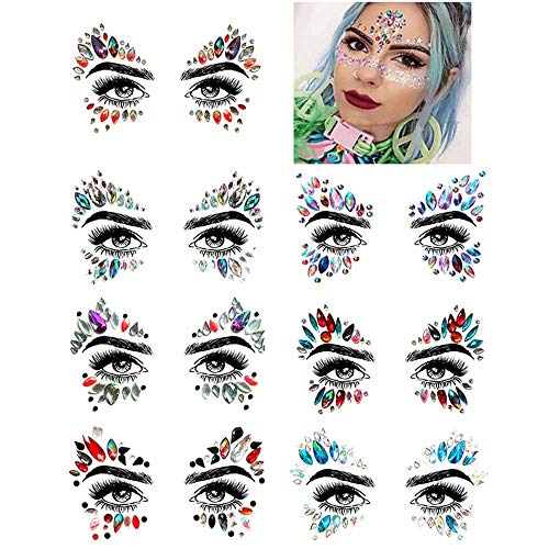 7 Sets Gesicht Edelsteine \u20b\u20bStrass Tattoo Festival Juwelen Gesicht Brust Stirn Körper Temporäre Tattoos, Frauen Meerjungfrau Gesicht Edelsteine \u20b\u20bGlitter