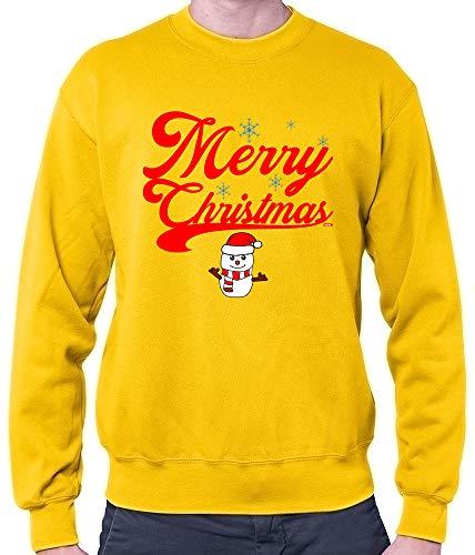 HARIZ Herren Pullover Weihnachten Merry Christmas Stadt Weihnachten Weihnachts Schnee Liebe Inkl. Geschenk Karte Gold Gelb XXL (Elf Party-stadt Kostüm)