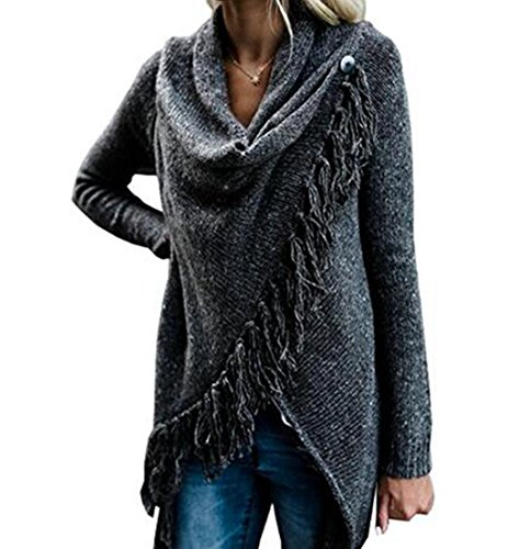 ASSKDAN Damen Winter Böhmen Quaste Capes Strickjacke Poncho Pullover Sweater (M, Z-Dunkelgrau)