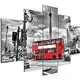 Bilder London Bus Wandbild 150 x 100 cm Vlies - Leinwand Bild XXL Format Wandbilder Wohnzimmer Wohnung Deko Kunstdrucke Rot 5 Teilig - MADE IN GERMANY - Fertig zum Aufhängen 604753a