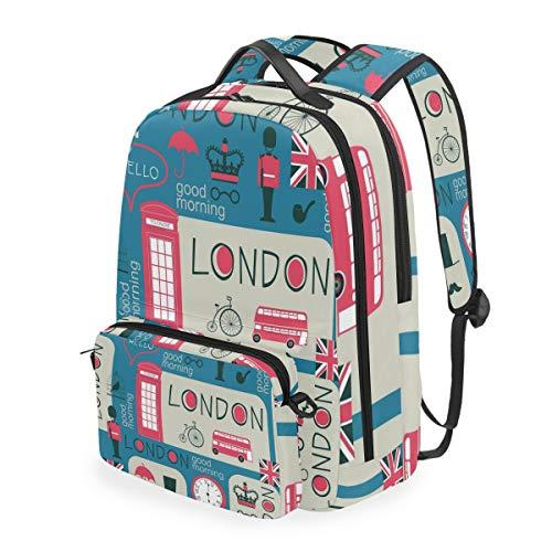 CPYang Schulrucksack London Bus Union Jack abnehmbare Schultertasche Umhängetasche Reise Laptop Rucksack für Mädchen Jungen Damen Herren -