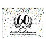 Große XXL Design Glückwunsch-Karte zum 60. Geburtstag mit Umschlag/DIN A4/Konfetti Look mit Kranz/Runder Geburtstag/Grußkarte
