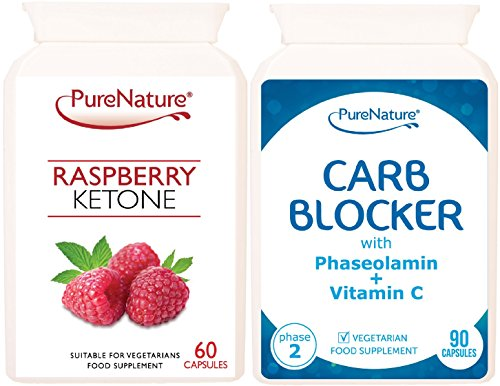 Raspberry Ketone & Carb Blocker Best sellers Dual Pack suitable for Vegetarian & Vegans SUPE...