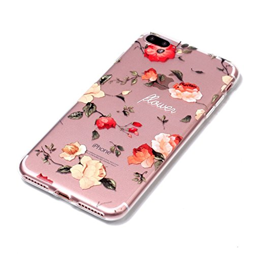 Fodlon® Kuchen Transparent Weich Hülle für Apple iphone 7 plus Rosen