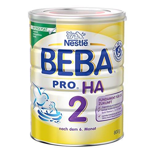 Nestlé BEBA PRO HA 2 Folgenahrung nach dem 6. Monat, Folgenahrung mit hydrolysiertem Eiweiß, Pulver, wiederverschließbar, mit praktischer Messlöffelablage, 800g Dose, 6er Pack (6x800g)