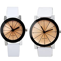 Couple Watches, Koly® 1Pair Men and Women Quartz Dial Clock Faux Leather Wrist Watch White Valentine's Day gift