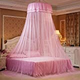 Princesa de techo redonda encaje Canopy Bed filete Comfy estudiantes Dome – Mosquitera para cama doble Full Queen bed rosa Rose