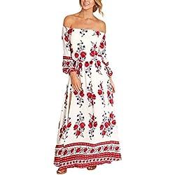 Mujer Vestidos Vestidos Largos De Verano Hombro Descubierto Cuello Barco 3/4 Manga Dulce Lindo Chic Hippie Boho Estampado Floral Vestido Playa Vestido Largo (Color : Blanco, Size : M)