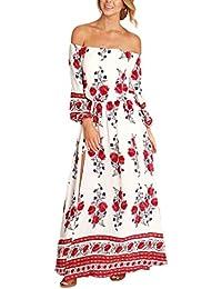 Vestidos Mujer Manga Larga Cuello Barco Hombro Descubierto Entallados Elegantes Vintage Bohemio Estampados Con Flores Casual