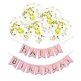 KOBWA Gold Konfetti Ballons, 12 Zoll Klare Latex Party Ballons & HAPPY BIRTHDAY Banner für Geburtstag, Hochzeit oder Party Dekorationen