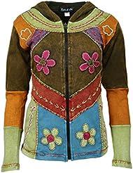 Mesdames multicolore veste en coton avec capuche et poche latérale
