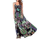 Bekleidung Longra❤️❤️ Kleider Damen, Frauen Ärmelloses Sommerkleid Strandkleider Blumenmuster lang Maxi Kleid mit Taschen (L, Green 10)