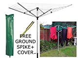 LIVIVO ® Outdoor Garden 4 Arm 45m folding Rotary Washing Line Clothes Airer Dryer with Free Ground Spike and Cover