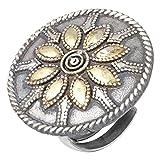 Aheli Vintage ispirazione etnica anello regolabile Dual Tone Floral Design indiano bigiotteria per donne ragazze