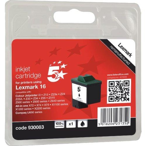 5 Star 930083 Compatibile per Lexmark 10N0016E #16 Cartuccia Inkjet, Nero