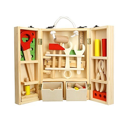Werkzeugkasten Holz Klappbare Spielwerkzeug 36tlg. Tool Box Kleine Werkzeugkoffer inkl. Schrauber, Lineal, Hammer und Bauelemente für Kinder