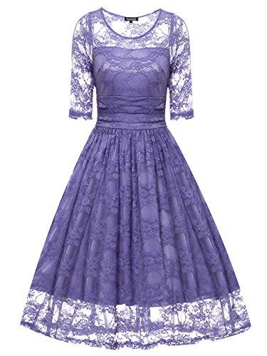 Gigileer Vintage Spitze Damen Kleid Knielang Kurzarm Cocktail Swing Hochzeit Party Lavendel L