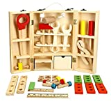 Lewo Juego de Accesorios y Caja de Herramientas de Madera Juego de Juegos de Pretensiones Juguetes Educativos de Construcción Para Niños