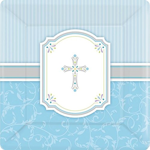 "Amscan 8 quadratische, 25,4 cm große ""Communion Blessing""-Pappteller in blau International"