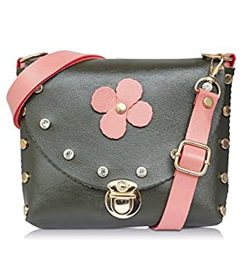 Fristo Women's Sling Bag (FRSB-210_Black & Pink)